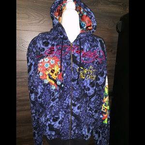 Ed Hardy Zipup hoodie sweatshirt size L men's